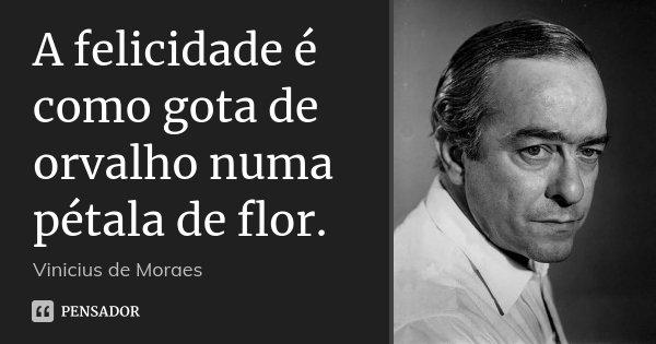 A Felicidade é Como Gota De Orvalho Vinicius De Moraes