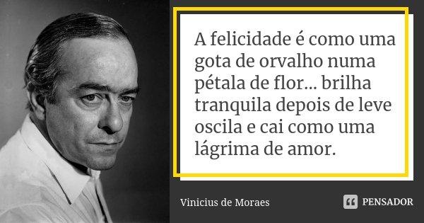 A Felicidade é Como Uma Gota De Orvalho Vinícius De Moraes