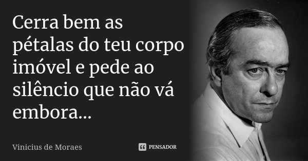 Cerra bem as pétalas do teu corpo imóvel e pede ao silêncio que não vá embora...... Frase de Vinicius de Moraes.