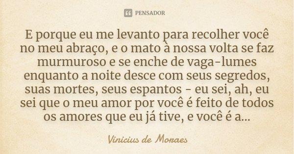 E porque eu me levanto para recolher você no meu abraço, e o mato à nossa volta se faz murmuroso e se enche de vaga-lumes enquanto a noite desce com seus segred... Frase de Vinicius de Moraes.