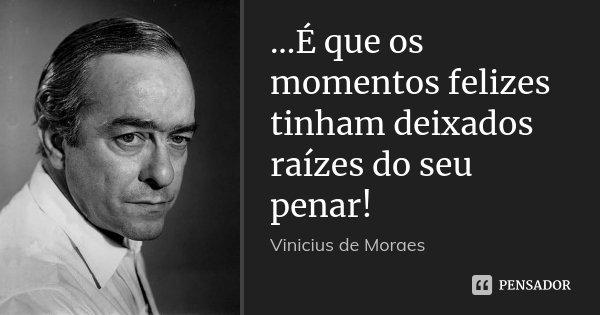 ...É que os momentos felizes tinham deixados raízes do seu penar!... Frase de Vinícius de Moraes.