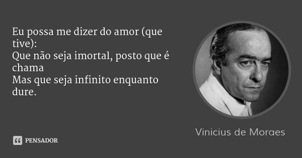 Que Não Seja Imortal Posto Que é Chama Mas Que Seja: Vinicius De Moraes: Eu Possa Me Dizer Do Amor (que Tive): Qu