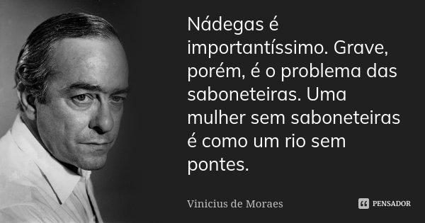 Nádegas é importantíssimo. Grave, porém, é o problema das saboneteiras. Uma mulher sem saboneteiras é como um rio sem pontes.... Frase de Vinicius de Moraes.