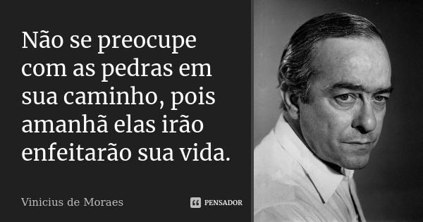 Não se preocupe com as pedras em sua caminho, pois amanhã elas irão enfeitarão sua vida.... Frase de Vinicius de Moraes.