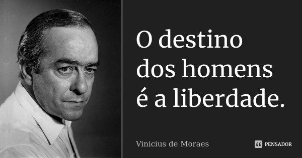 O destino dos homens é a liberdade.... Frase de Vinícius de Moraes.