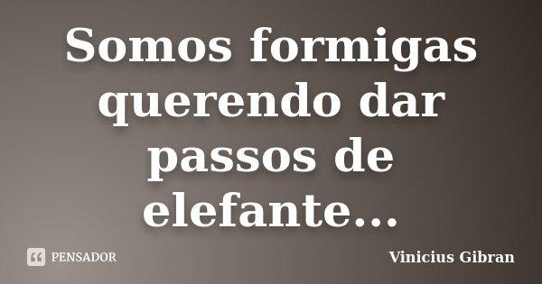 Somos formigas querendo dar passos de elefante...... Frase de Vinicius Gibran.