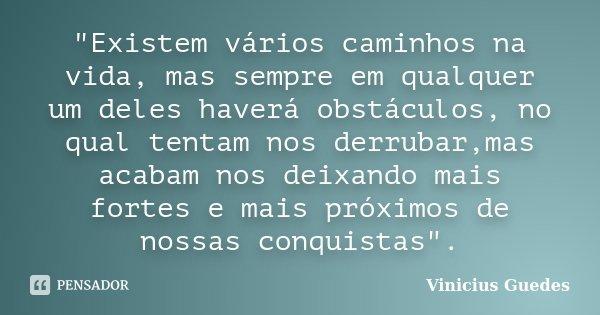 """""""Existem vários caminhos na vida, mas sempre em qualquer um deles haverá obstáculos, no qual tentam nos derrubar,mas acabam nos deixando mais fortes e mais... Frase de Vinícius Guedes."""
