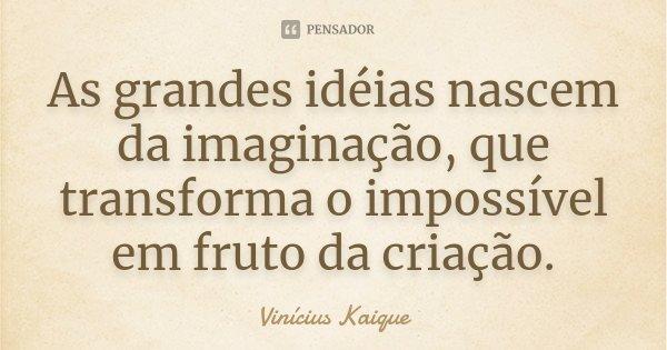 As grandes idéias nascem da imaginação, que transforma o impossível em fruto da criação.... Frase de Vinícius Kaique.