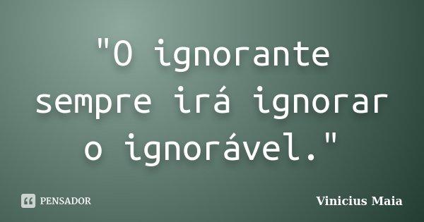 """""""O ignorante sempre irá ignorar o ignorável.""""... Frase de Vinicius Maia."""