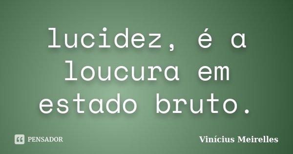 lucidez, é a loucura em estado bruto.... Frase de Vinícius Meirelles.
