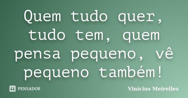 Quem tudo quer, tudo tem, quem pensa pequeno, vê pequeno também!... Frase de Vinícius Meirelles.