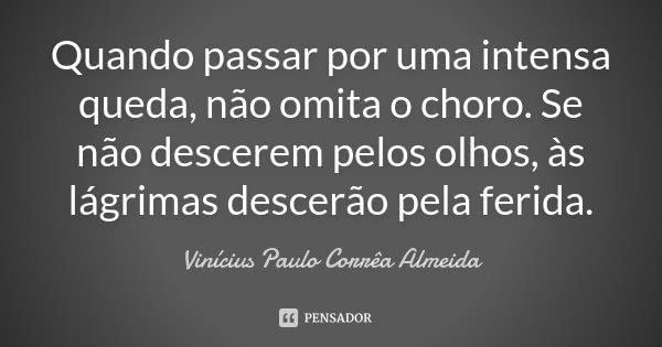 Quando passar por uma intensa queda, não omita o choro. Se não descerem pelos olhos, às lágrimas descerão pela ferida.... Frase de Vinícius Paulo Corrêa Almeida.