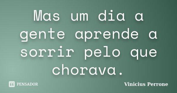Mas um dia a gente aprende a sorrir pelo que chorava.... Frase de Vinicius Perrone.