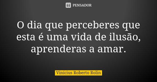 O dia que perceberes que esta é uma vida de ilusão, aprenderas a amar.... Frase de Vinicius Roberto Rolin.