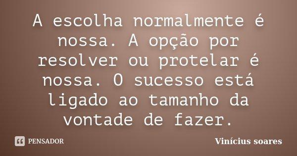 A escolha normalmente é nossa. A opção por resolver ou protelar é nossa. O sucesso está ligado ao tamanho da vontade de fazer.... Frase de Vinicius Soares.