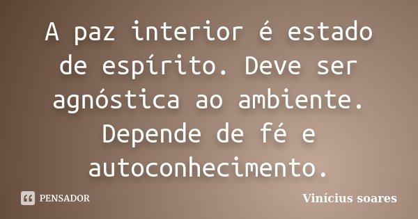 A paz interior é estado de espírito. Deve ser agnóstica ao ambiente. Depende de fé e autoconhecimento.... Frase de Vinicius Soares.