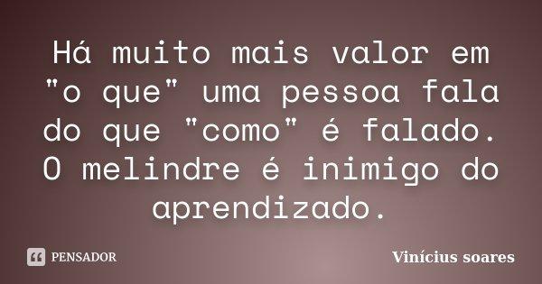 """Há muito mais valor em """"o que"""" uma pessoa fala do que """"como"""" é falado. O melindre é inimigo do aprendizado.... Frase de Vinicius Soares."""