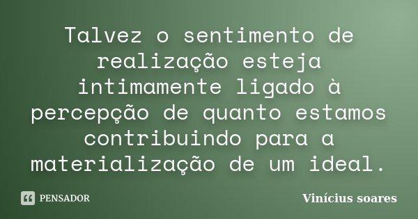 Talvez o sentimento de realização esteja intimamente ligado à percepção de quanto estamos contribuindo para a materialização de um ideal.... Frase de Vinicius Soares.