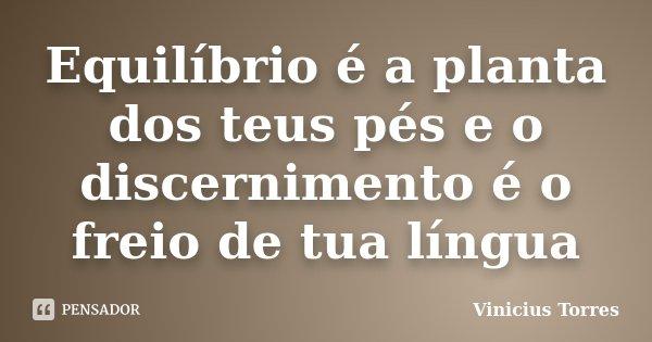 Equilíbrio é a planta dos teus pés e o discernimento é o freio de tua língua... Frase de Vinicius Torres.