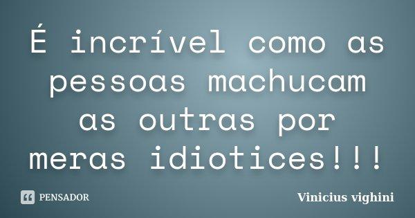 É incrível como as pessoas machucam as outras por meras idiotices!!!... Frase de Vinicius Vighini.
