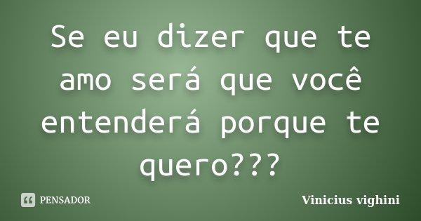 Se eu dizer que te amo será que você entenderá porque te quero???... Frase de Vinicius Vighini.