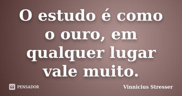 O estudo é como o ouro, em qualquer lugar vale muito.... Frase de Vinnicius Stresser.