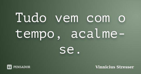 Tudo vem com o tempo, acalme-se.... Frase de Vinnicius Stresser.
