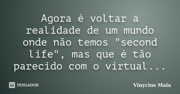 """Agora é voltar a realidade de um mundo onde não temos """"second life"""", mas que é tão parecido com o virtual...... Frase de Vinycius Maia."""