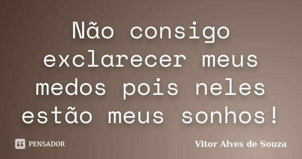 Não consigo exclarecer meus medos pois neles estão meus sonhos!... Frase de Vitor Alves de Souza.