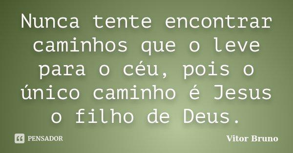 Nunca tente encontrar caminhos que o leve para o céu, pois o único caminho é Jesus o filho de Deus.... Frase de Vitor Bruno.