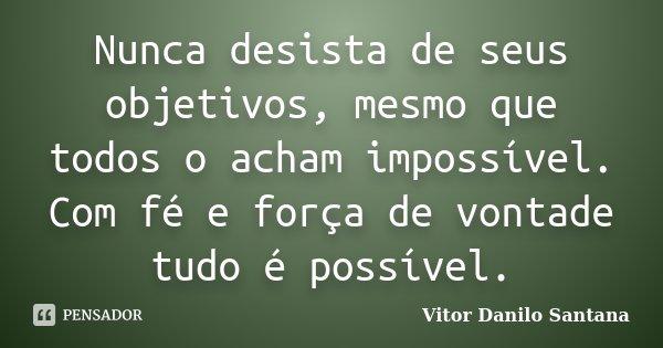 Nunca Desista De Seus Objetivos Mesmo Vitor Danilo Santana