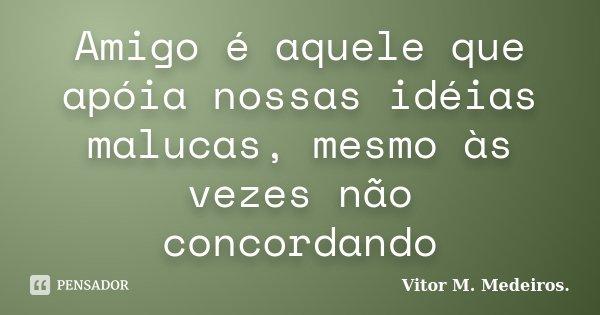 Amigo é aquele que apóia nossas idéias malucas, mesmo às vezes não concordando... Frase de Vitor M. Medeiros.