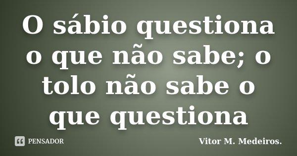 O sábio questiona o que não sabe; o tolo não sabe o que questiona... Frase de Vitor M. Medeiros.