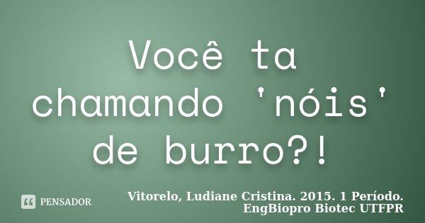 Você ta chamando 'nóis' de burro?!... Frase de Vitorelo, Ludiane Cristina. 2015. 1 Período. EngBiopro Biotec UTFPR.
