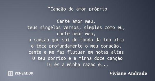 Canção Do Amor Próprio Cante Amor Viviane Andrade