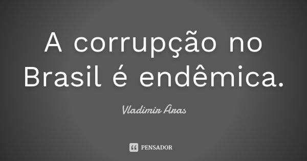 A corrupção no Brasil é endêmica.... Frase de Vladimir Aras.