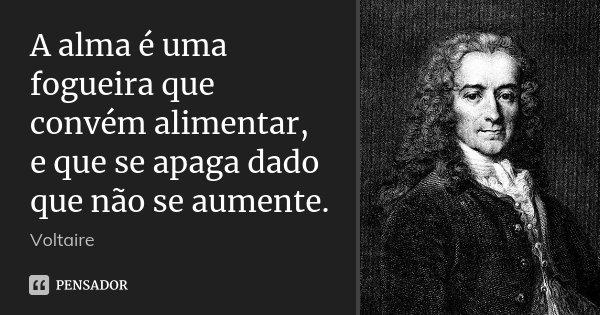 A alma é uma fogueira que convém alimentar, e que se apaga dado que não se aumente.... Frase de Voltaire.