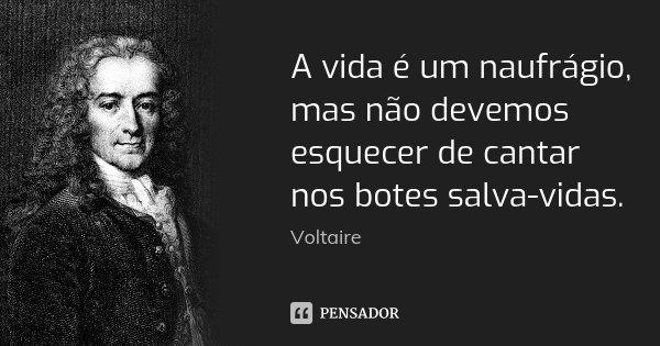 A vida é um naufrágio, mas não devemos esquecer de cantar nos botes salva-vidas.... Frase de Voltaire.