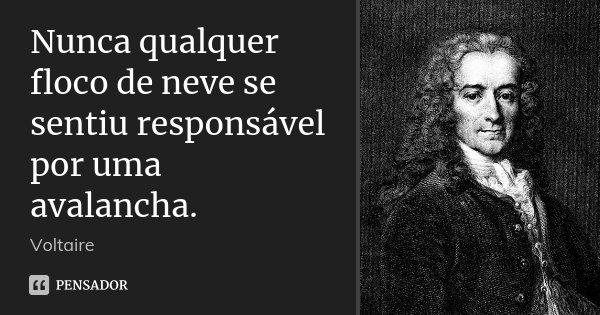 Nunca qualquer floco de neve se sentiu responsável por uma avalancha.... Frase de Voltaire.