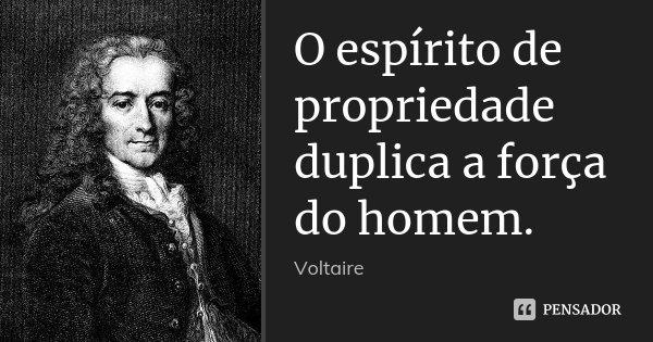 O espírito de propriedade duplica a força do homem.... Frase de Voltaire.
