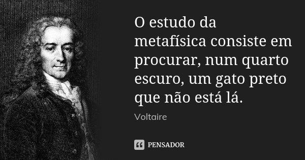 O estudo da metafísica consiste em procurar, num quarto escuro, um gato preto que não está lá.... Frase de Voltaire.