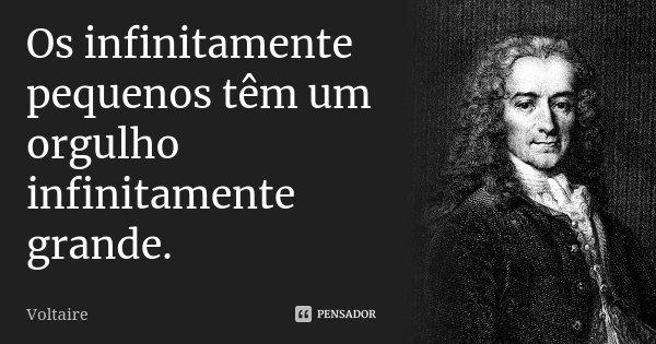 Os infinitamente pequenos têm um orgulho infinitamente grande.... Frase de Voltaire.