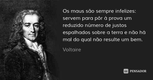Os maus são sempre infelizes: servem para pôr à prova um reduzido número de justos espalhados sobre a terra e não há mal do qual não resulte um bem.... Frase de Voltaire.