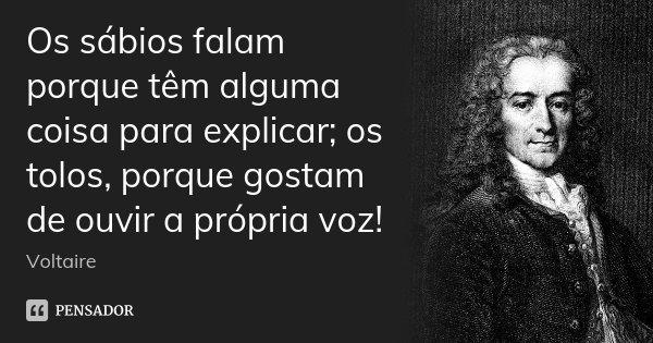 Os sábios falam porque têm alguma coisa para explicar; os tolos, porque gostam de ouvir a própria voz!... Frase de Voltaire.