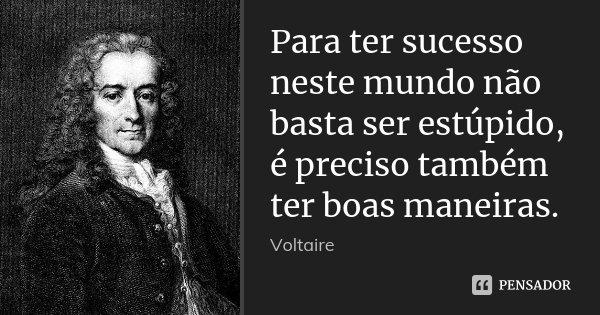 Para ter sucesso neste mundo não basta ser estúpido, é preciso também ter boas maneiras.... Frase de Voltaire.