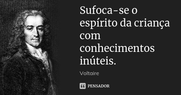 Sufoca-se o espírito da criança com conhecimentos inúteis.... Frase de Voltaire.