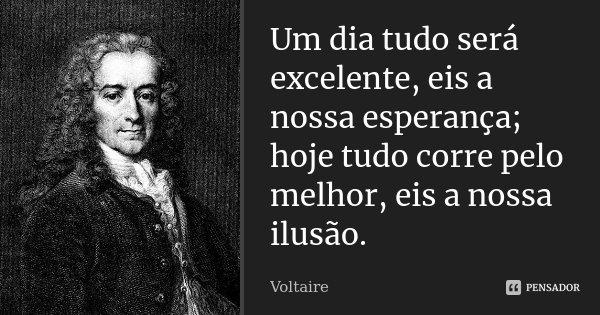 Um dia tudo será excelente, eis a nossa esperança; hoje tudo corre pelo melhor, eis a nossa ilusão.... Frase de Voltaire.