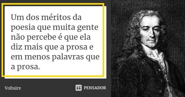 Um dos méritos da poesia, que muita gente não percebe, é que ela diz mais que a prosa e em menos palavras que a prosa.... Frase de Voltaire.