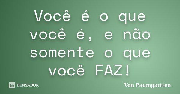 Você é o que você é, e não somente o que você FAZ!... Frase de Von Paumgartten.