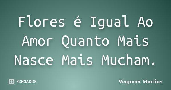 Flores é Igual Ao Amor Quanto Mais Nasce Mais Mucham.... Frase de Wagneer Mariins.